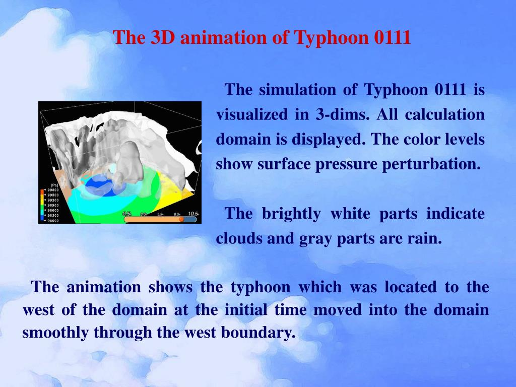 The 3D animation of Typhoon 0111