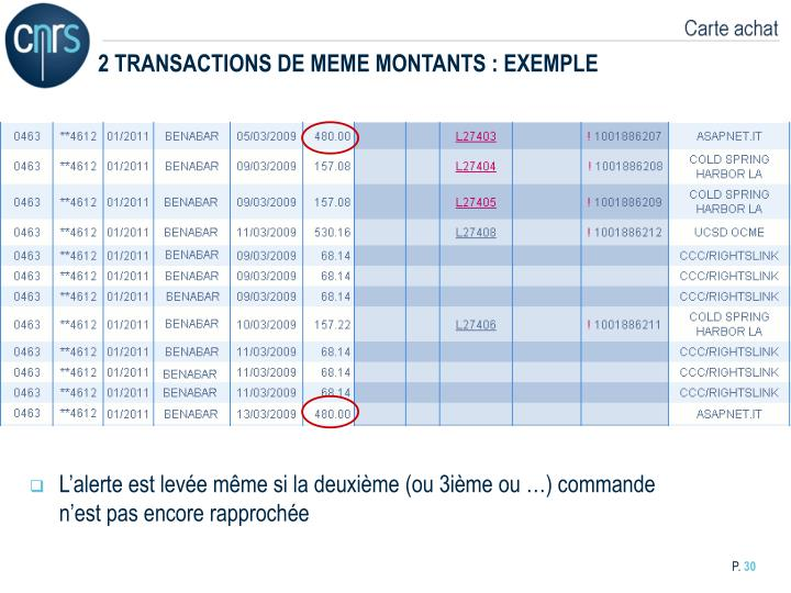 2 TRANSACTIONS DE MEME MONTANTS : EXEMPLE
