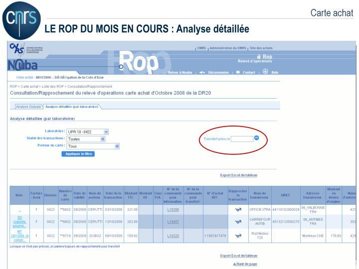 LE ROP DU MOIS EN COURS : Analyse détaillée