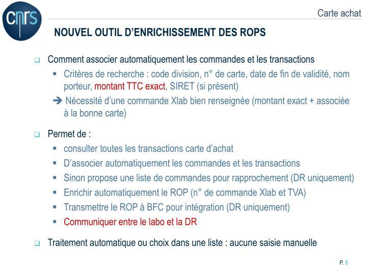 NOUVEL OUTIL D'ENRICHISSEMENT DES ROPS