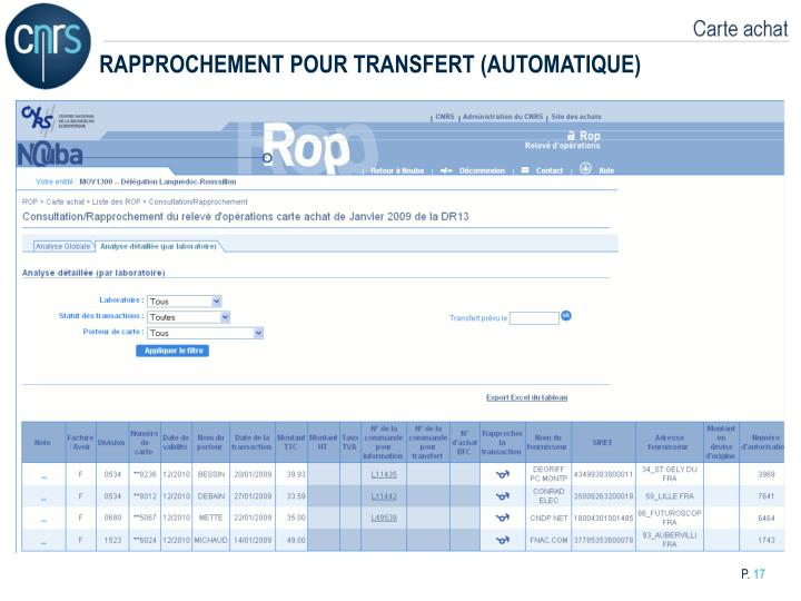 RAPPROCHEMENT POUR TRANSFERT (AUTOMATIQUE)