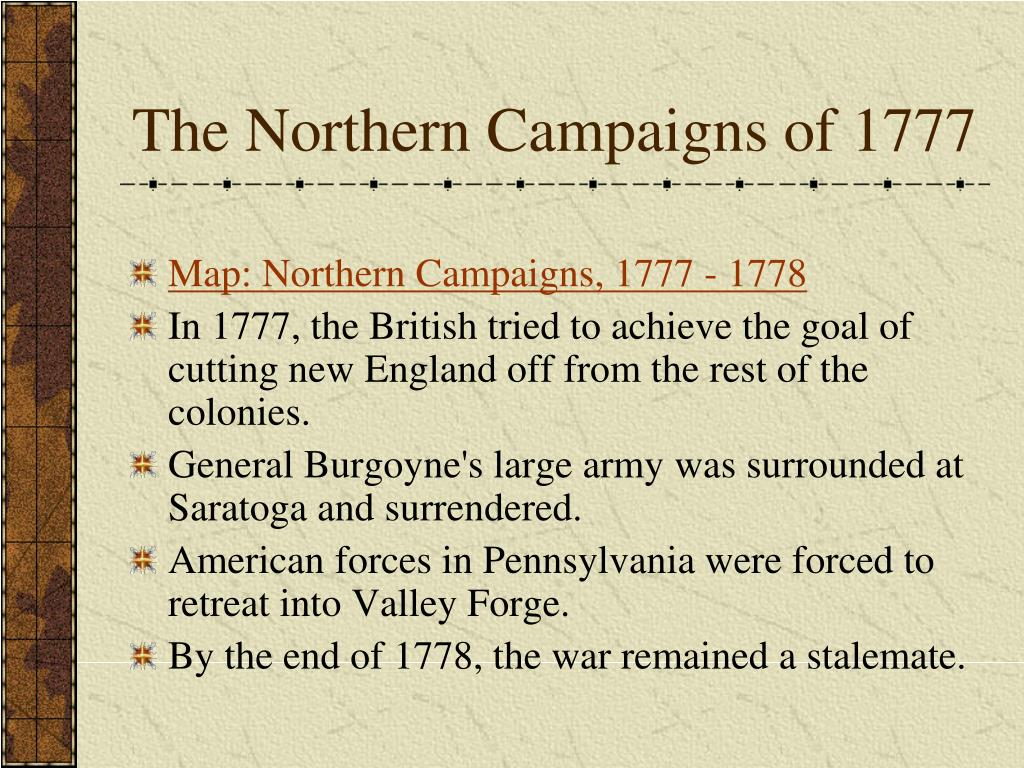 The Northern Campaigns of 1777