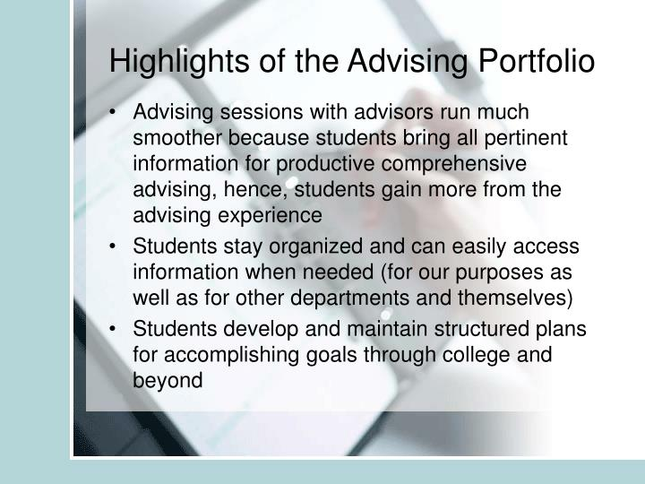Highlights of the Advising Portfolio