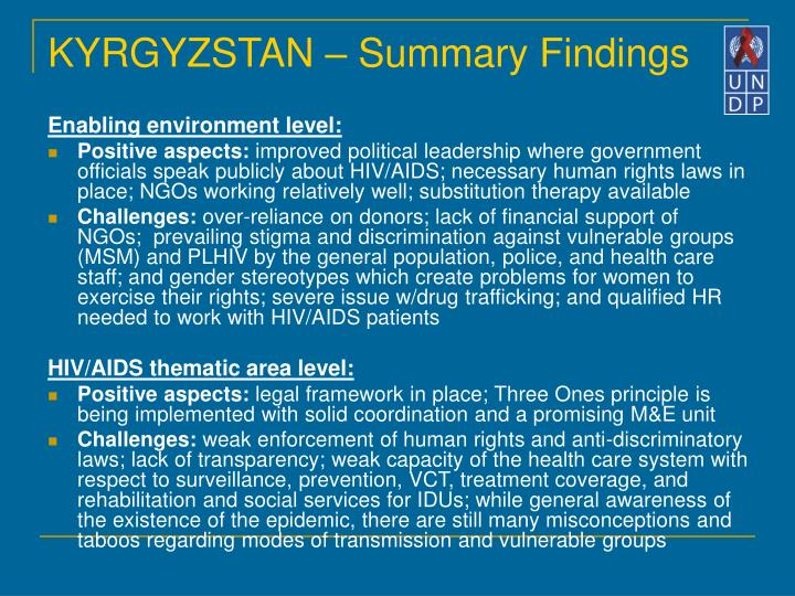 KYRGYZSTAN – Summary Findings