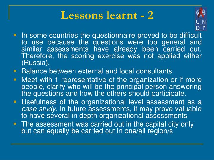 Lessons learnt - 2