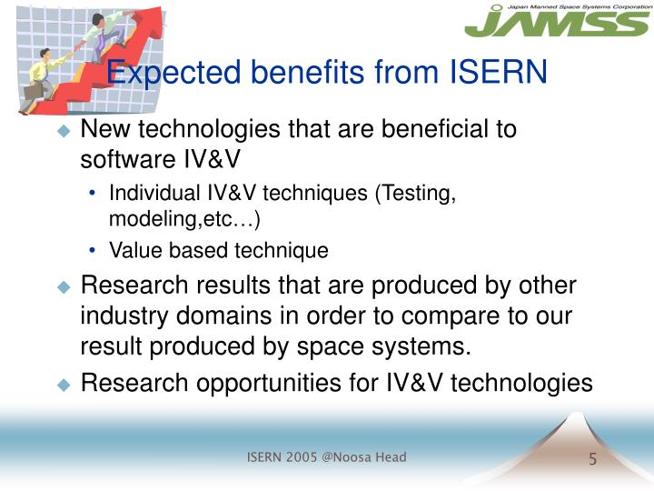 Expected benefits from ISERN
