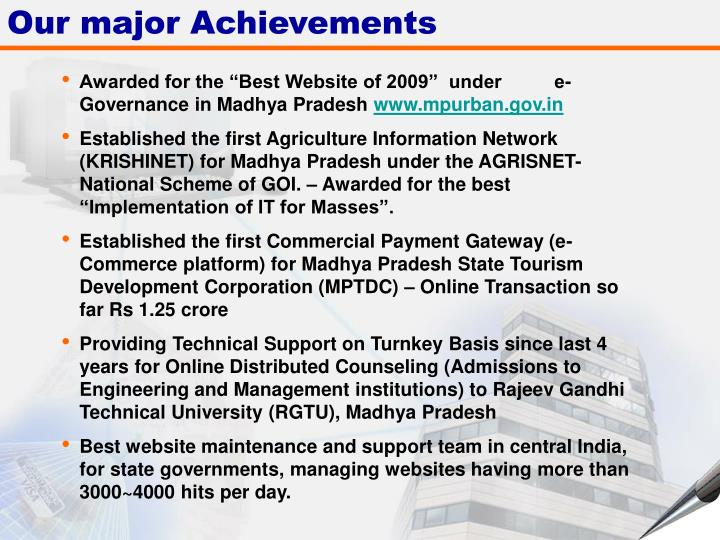 Our major Achievements