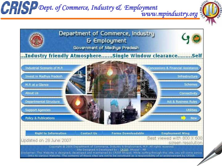 Dept. of Commerce, Industry &  Employment