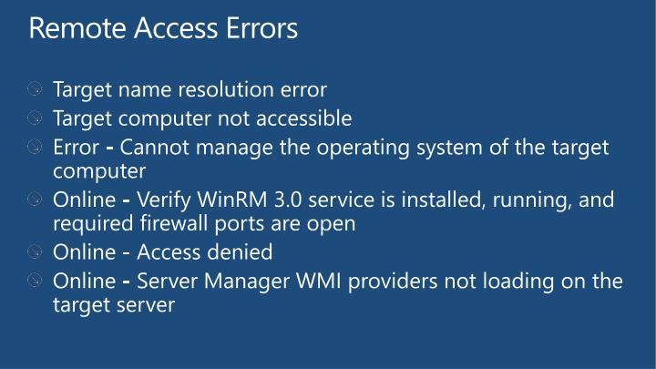 Remote Access Errors
