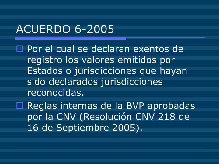 ACUERDO 6-2005