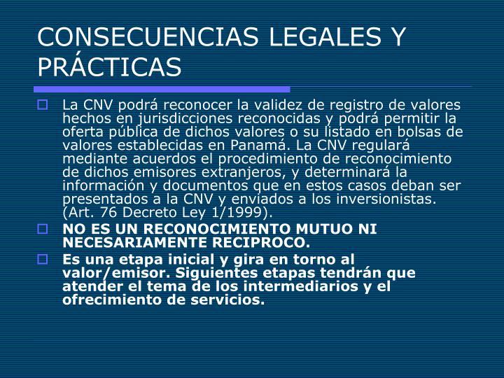 CONSECUENCIAS LEGALES Y PRÁCTICAS