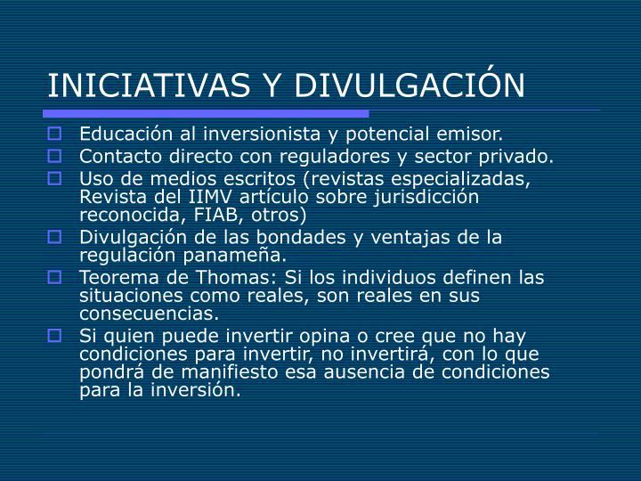 INICIATIVAS Y DIVULGACIÓN