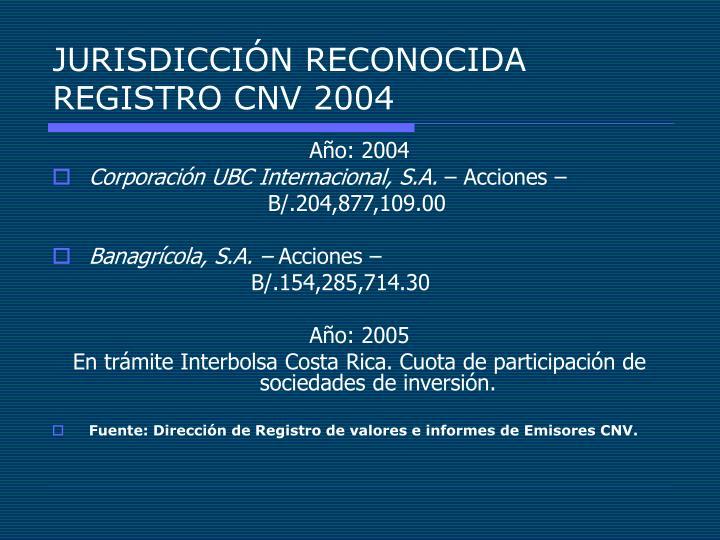 JURISDICCIÓN RECONOCIDA