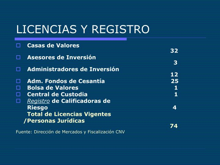 LICENCIAS Y REGISTRO