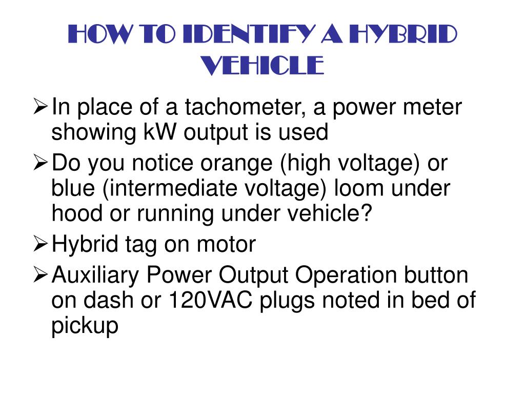 HOW TO IDENTIFY A HYBRID VEHICLE