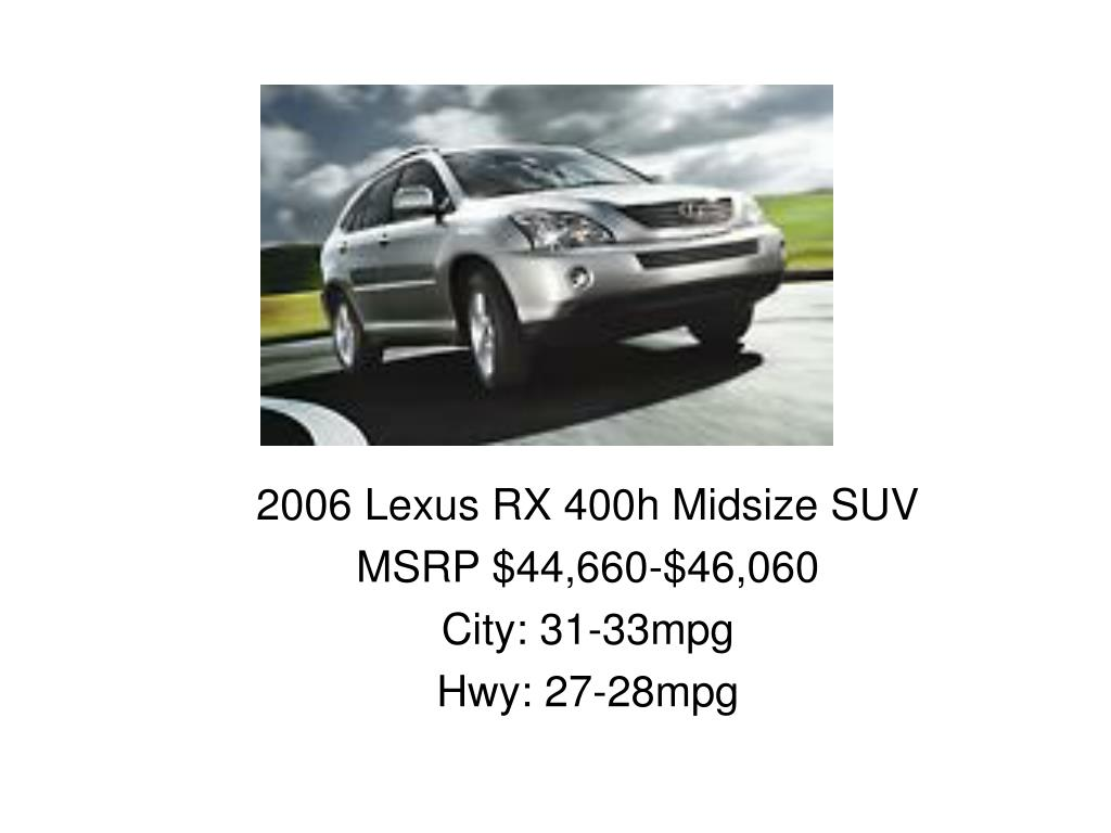 2006 Lexus RX 400h Midsize SUV