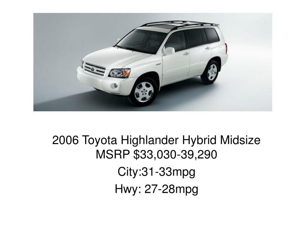 2006 Toyota Highlander Hybrid Midsize MSRP $33,030-39,290