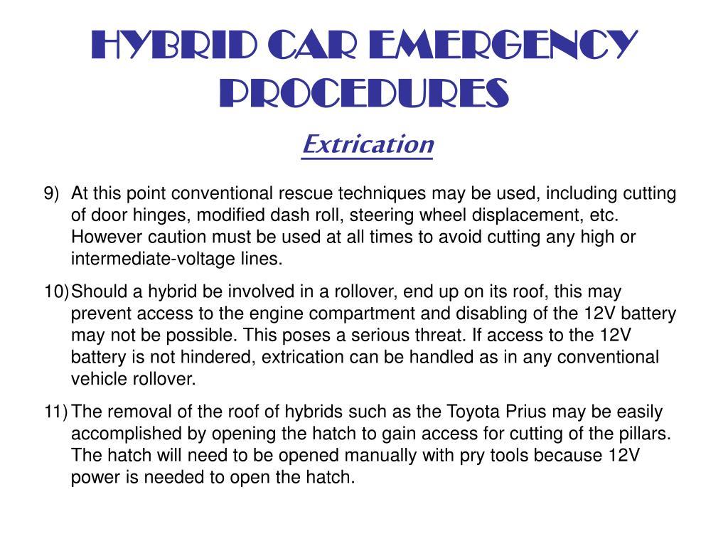 HYBRID CAR EMERGENCY PROCEDURES