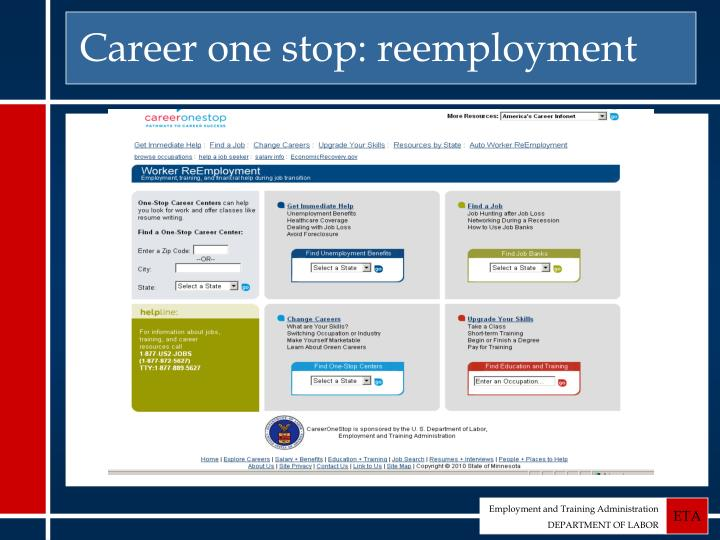 Career one stop: reemployment