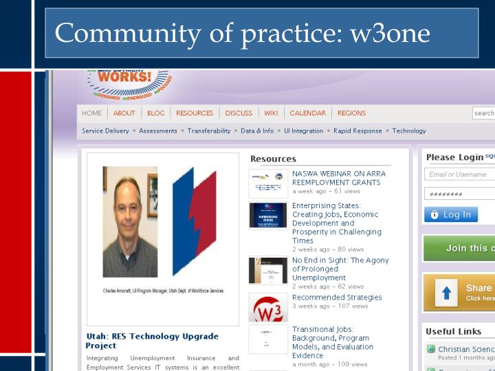 Community of practice: w3one