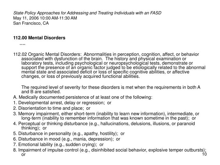 State Policy Approaches for Addressing and Treating Individuals with an FASD