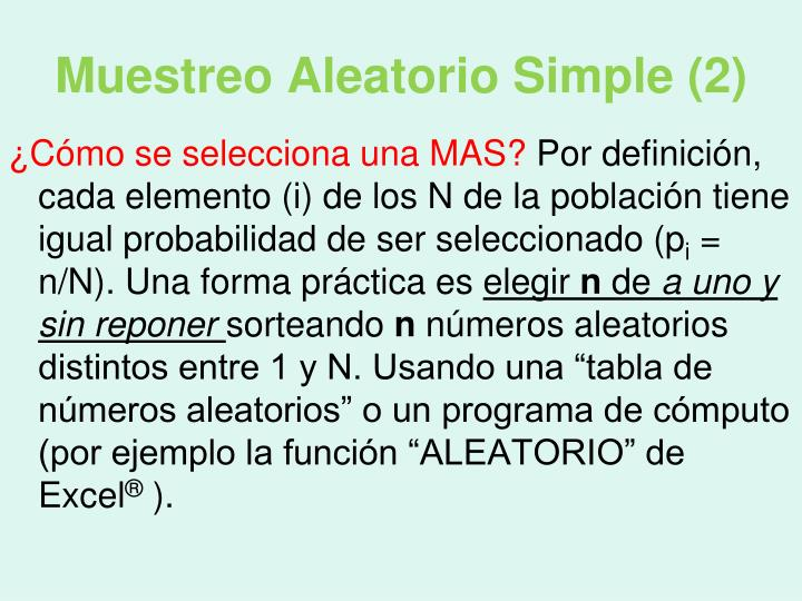 Muestreo Aleatorio Simple (2)