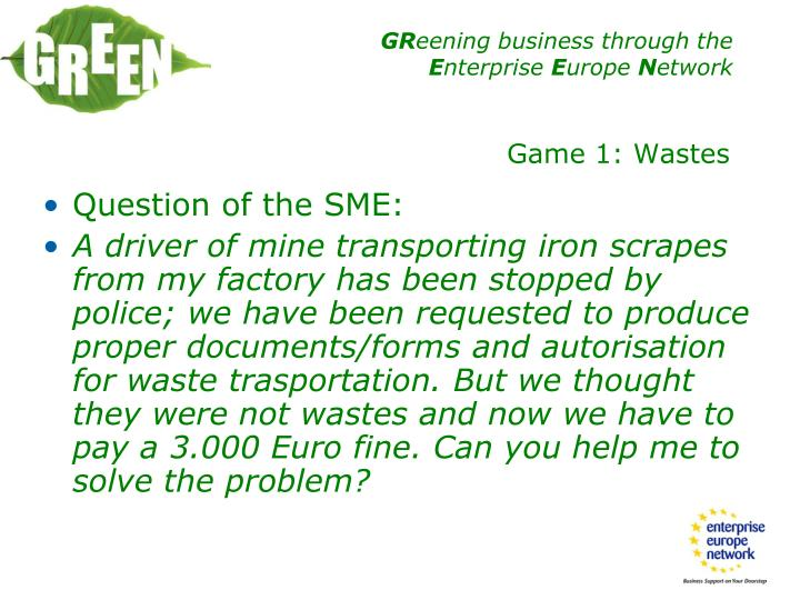 Question of the SME: