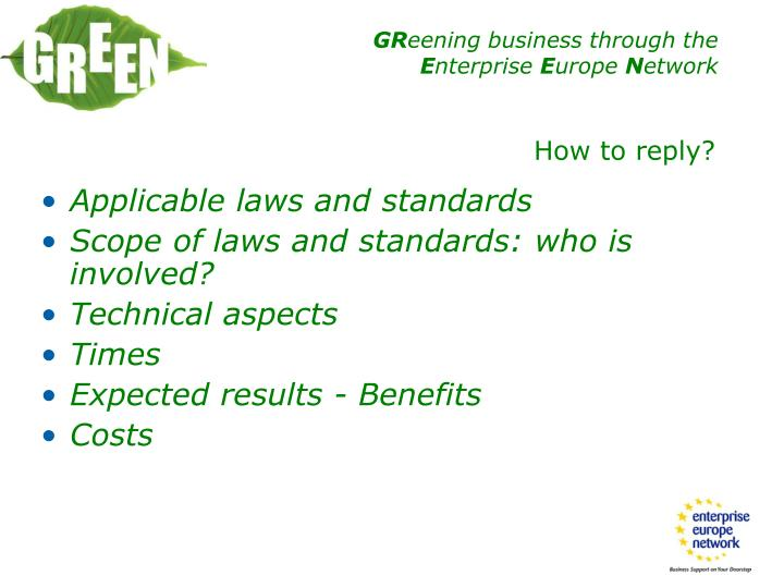 Applicable laws and standards