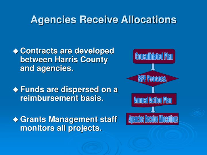 Agencies Receive Allocations