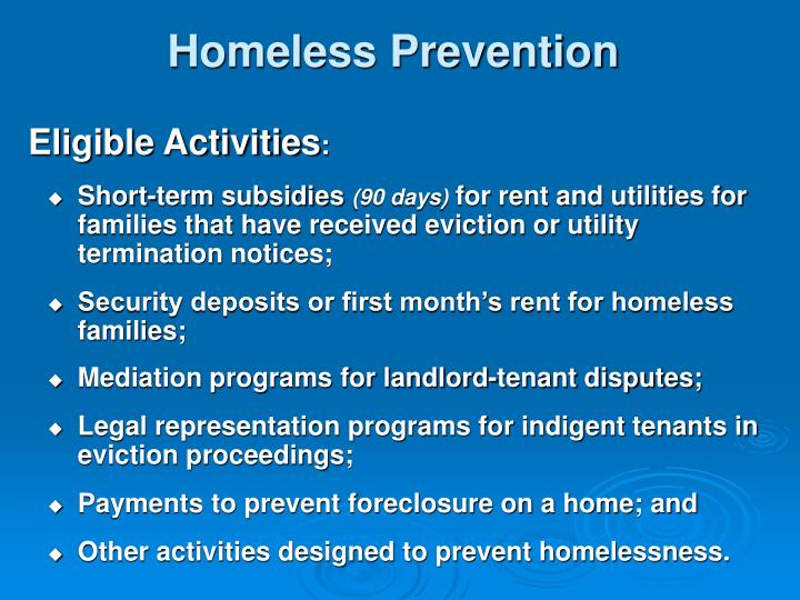 Homeless Prevention