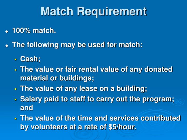 Match Requirement