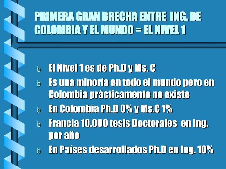 PRIMERA GRAN BRECHA ENTRE  ING. DE COLOMBIA Y EL MUNDO = EL NIVEL 1
