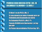 primera gran brecha entre ing de colombia y el mundo el nivel 1