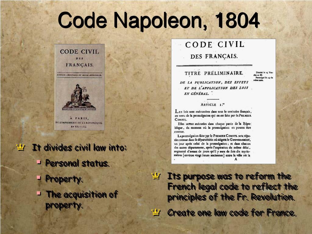 Code Napoleon, 1804