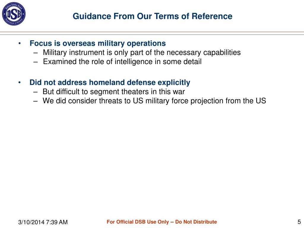 Guidance From Our Terms of Reference