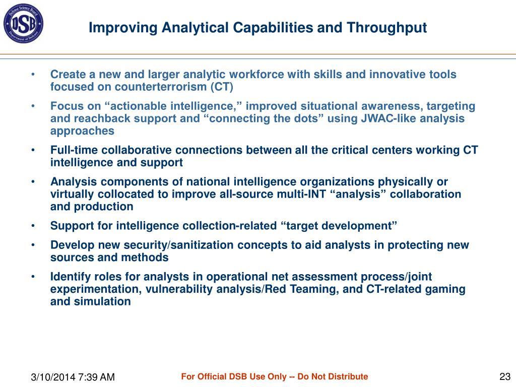 Improving Analytical Capabilities and Throughput
