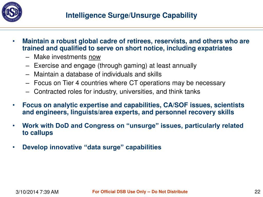 Intelligence Surge/Unsurge Capability