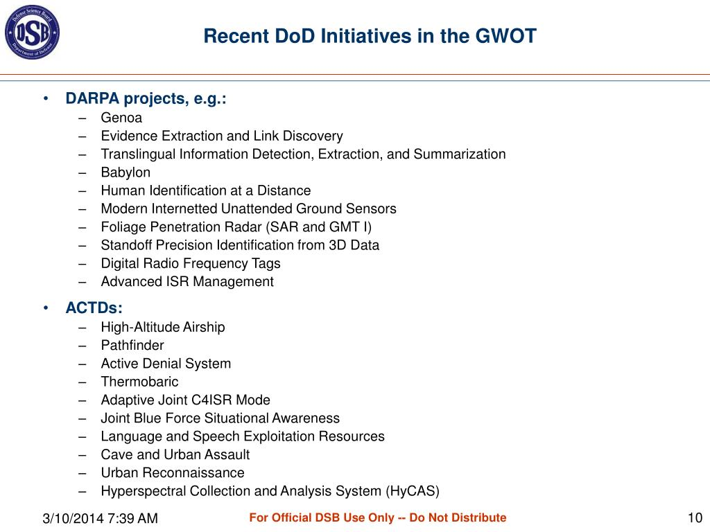 Recent DoD Initiatives in the GWOT