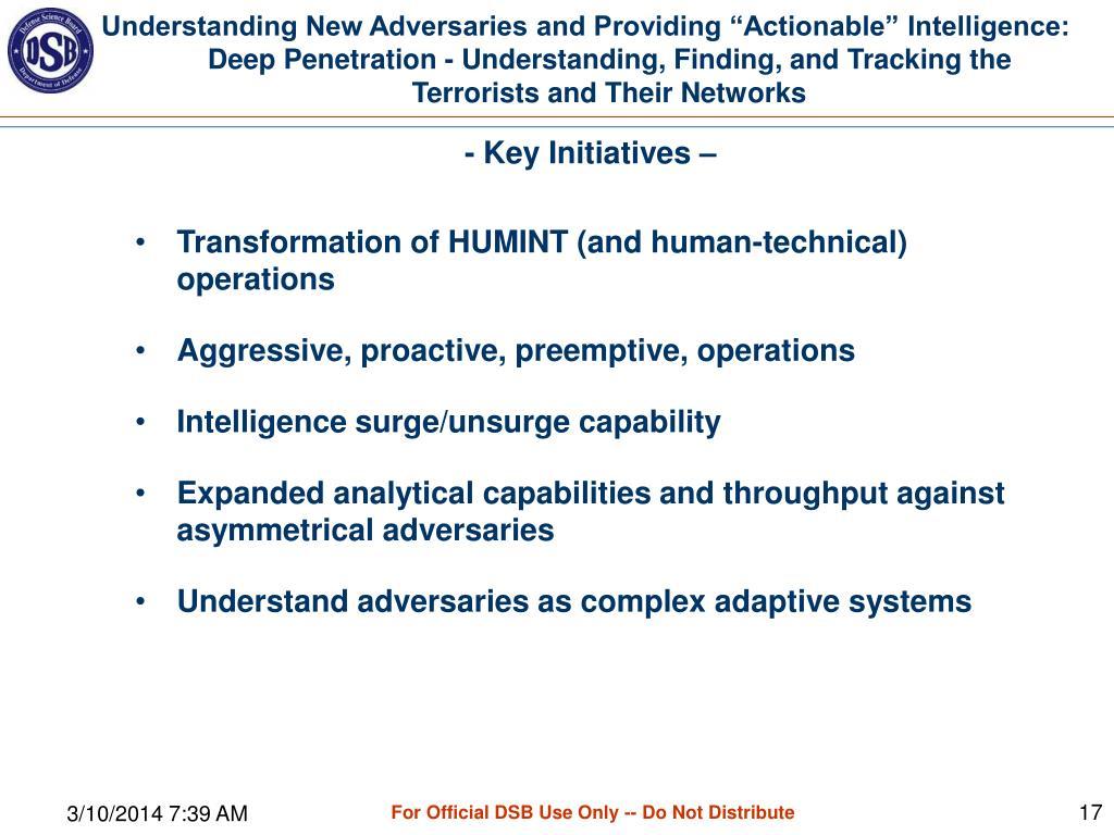 - Key Initiatives –