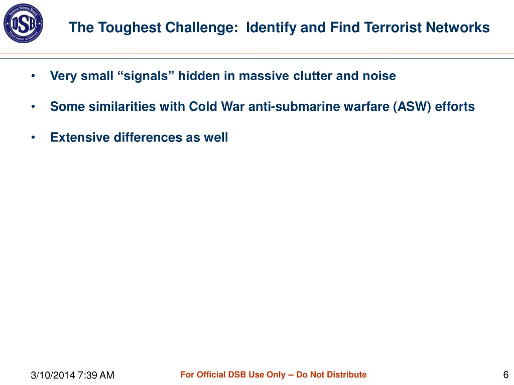 The Toughest Challenge:  Identify and Find Terrorist Networks