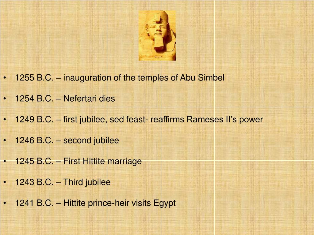 1255 B.C. – inauguration of the temples of Abu Simbel