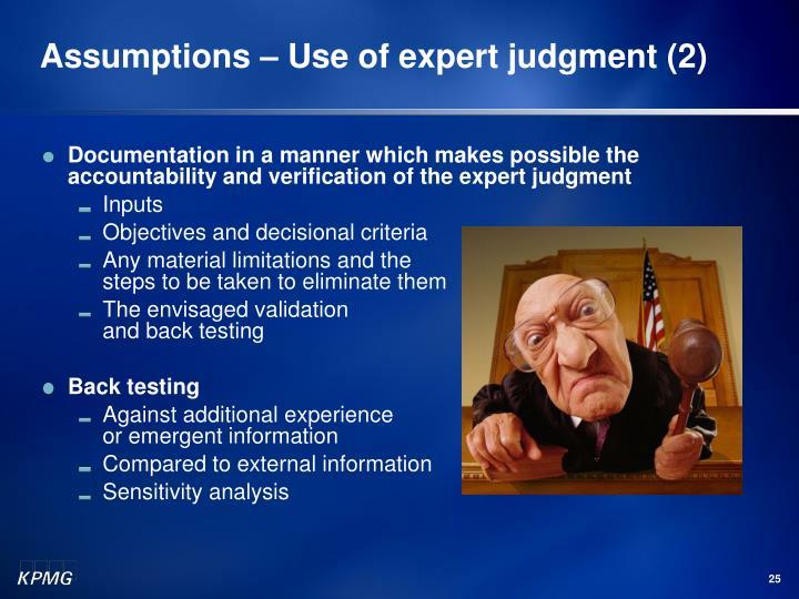 Assumptions – Use of expert judgment (2)