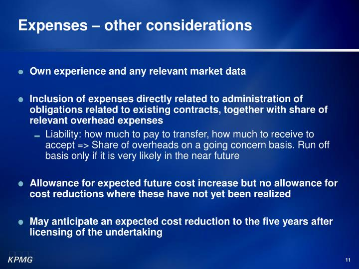 Expenses – other considerations