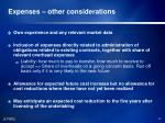 expenses other considerations