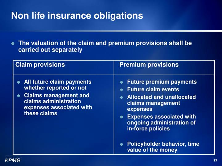 Non life insurance obligations