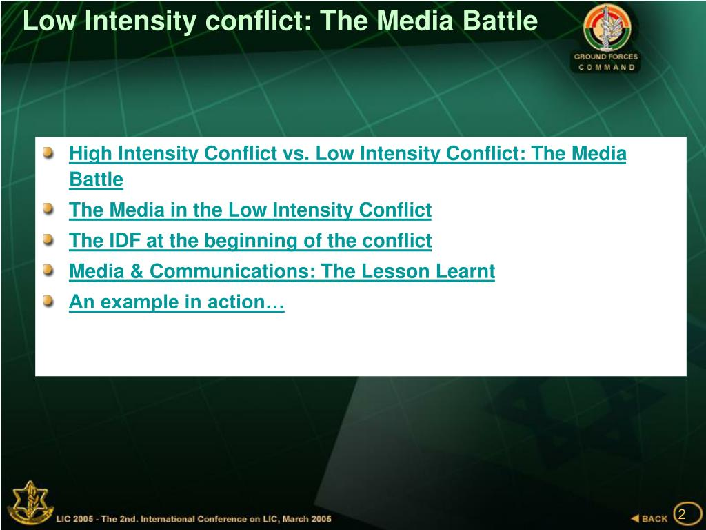 Low Intensity conflict: The Media Battle