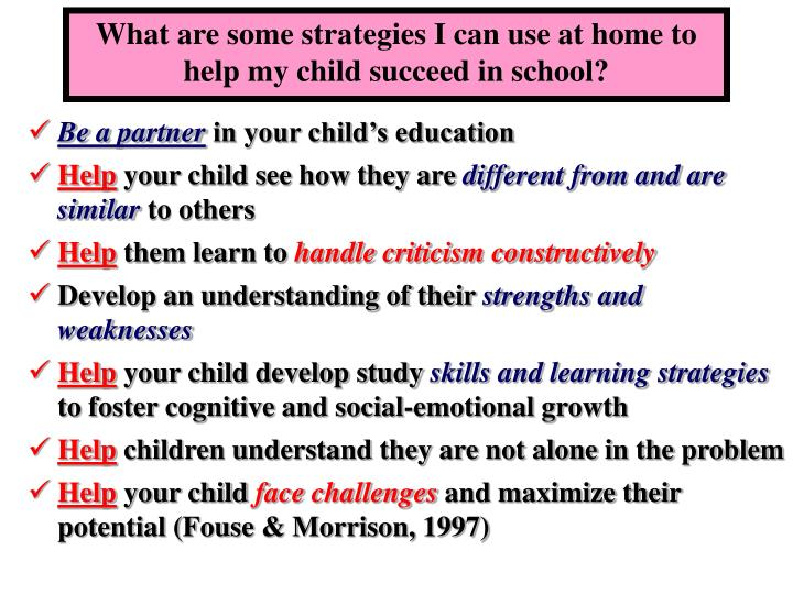 What are some strategies I can use at home to help my child succeed in school?