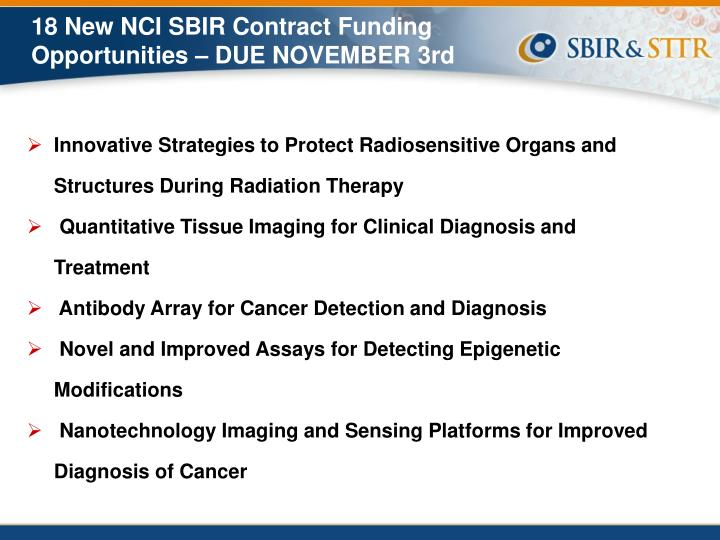 18 New NCI SBIR Contract Funding Opportunities – DUE NOVEMBER 3rd