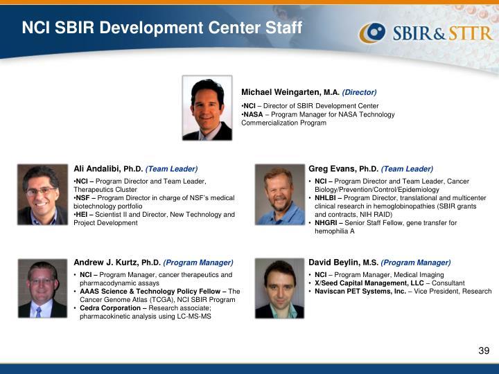 NCI SBIR Development Center Staff