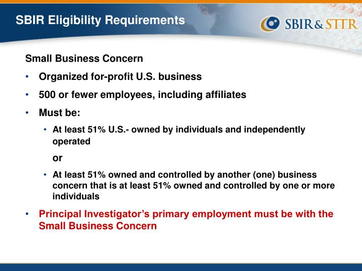 SBIR Eligibility Requirements
